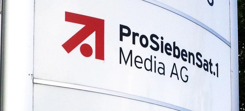 Firmenschild der ProSiebenSat.1 Media AG. Foto: Faust / viadoo GmbH
