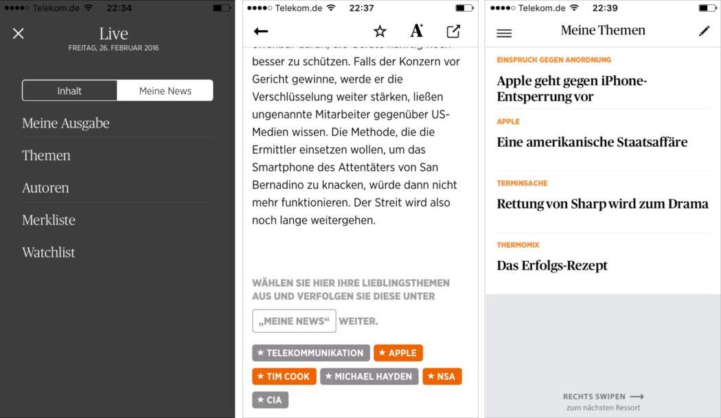 Beispiel einer Personalisierung in Form der App WeLT NEWS der Axel Springer SE. Screenshots: WeLT